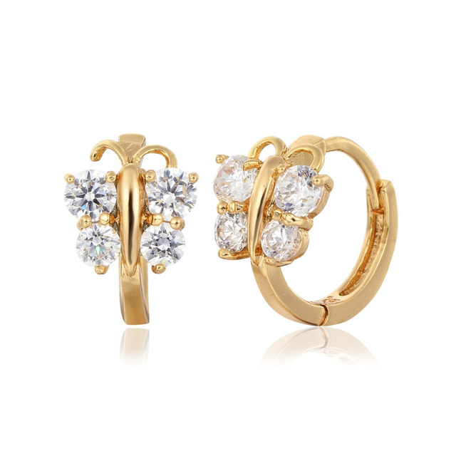 Cute Gold Color Erfly Cubic Zircon Small Round Circles Huggies Hoop Earrings For Women Kids Children
