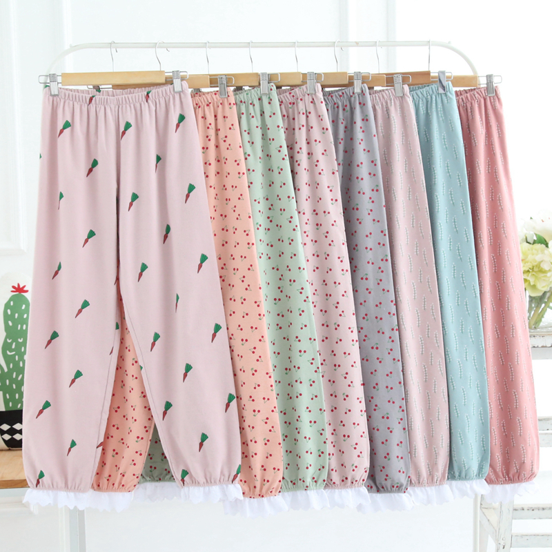 Women Cherry Printing Cotton Pajama Pant Females Lovely Sleep Bottoms 2018 Spring Summer Brushed Plus Sizes Loose Homewear Pants