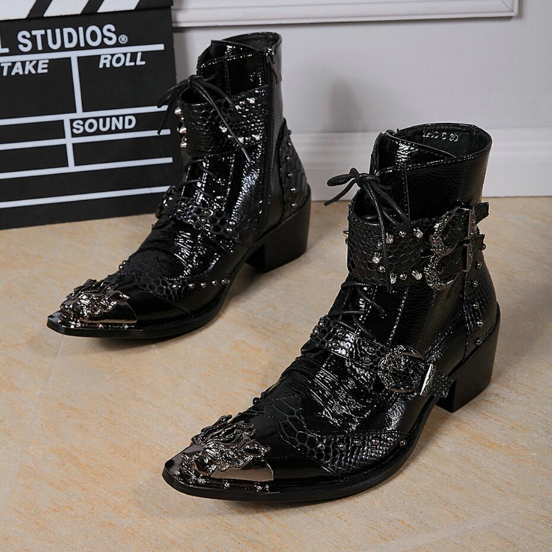 Для мужчин Заклепки мотоциклетные ботинки с металлическим носком Модные Мужские ботинки на молнии ботильоны Для мужчин из натуральной кож...