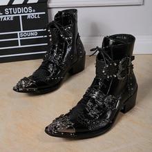 Для мужчин Заклепки мотоциклетные ботинки с металлическим носком Модные Мужские Ботинки Ботильоны на молнии Для мужчин из натуральной кожи высокое качество зимние ботинки «Для мужчин