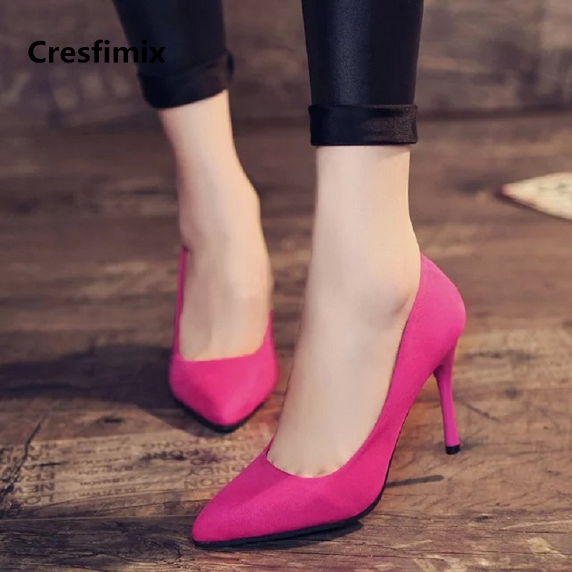 Cresfimix women new fashion 8cm slip on high heel shoes lady casual spring & summer pointed toe high heels tacones altos a629 xiaying smile summer women sandals casual fashion lady square heel slip on flock shoes pointed toe cover heel lace bowtie shoes page 8