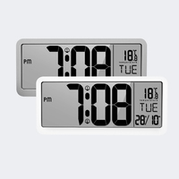 Portable Battery Powered ABS Digital Wall Clock With 2 Alarm Settings Adjustable Volume Large Screen Display Time