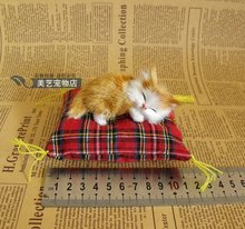 cute simulation yellow cat toy polyethylene & furs small sleeping cat modelgift doll about 9x4x4cm