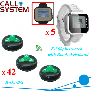 Digital wireless call pager system for restaurant equipment 5 receiver for waiter and 42 service buzzer for guest use
