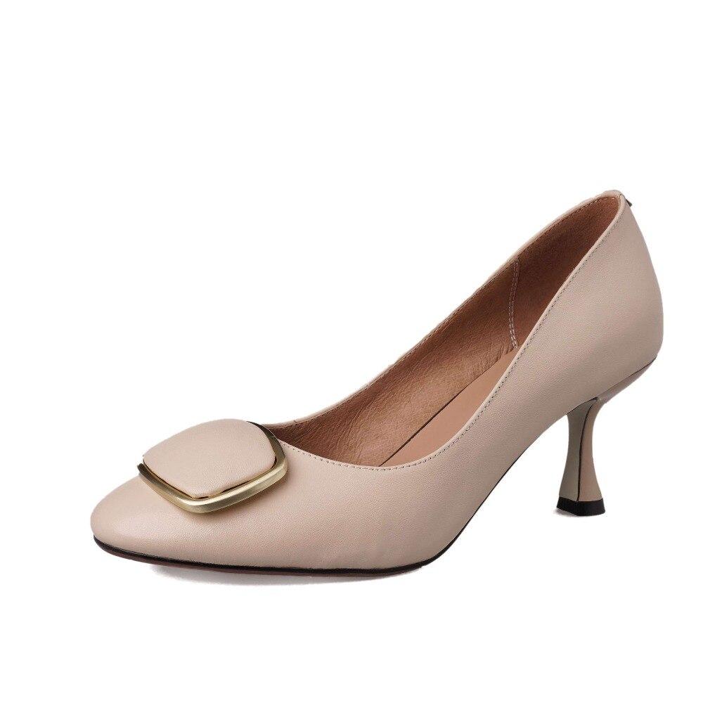 Lenkisen Hollywood película estrellas cuero genuino elegante señora tacones altos modelo vestido bombas metal decoración zapatos de punta cuadrada L3f1-in Zapatos de tacón de mujer from zapatos    3