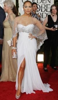 White 2019 Formal Celebrity Dresses Mermaid Spaghetti Straps Chiffon Beaded Long Evening Dresses Famous Red Carpet Dresses