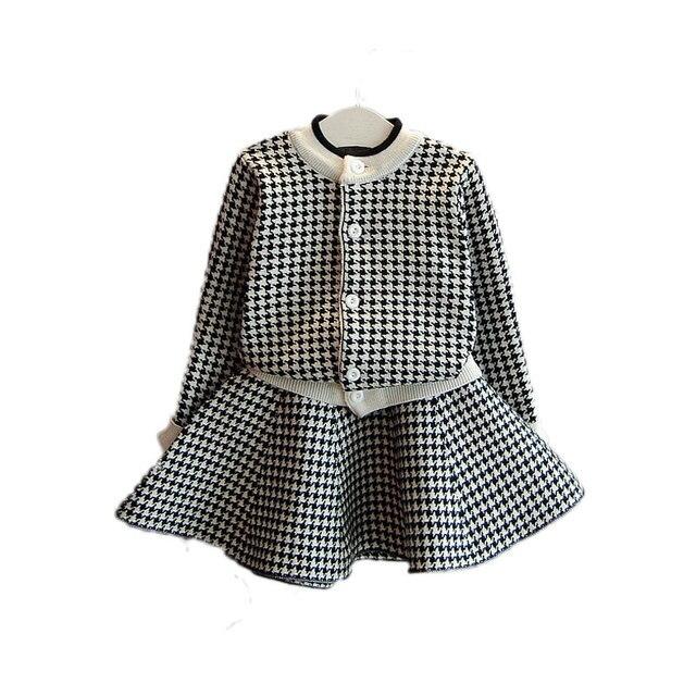 9fe9639056a7 V TREE Girls Clothing Set Plaid Coat+skirt Suits For Girls Children ...