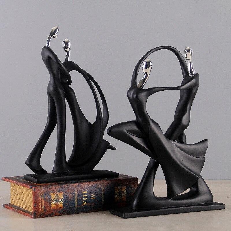 Abstrato moderno preto humano escultura estátua resina jóias decoração para casa acessórios presente geometria resina casal escultura