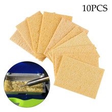 10pcs New Yellow High Temperature Enduring Electric Welding Soldering Iron Cleaning Sponge Pads Household Cleaning Tool(China)