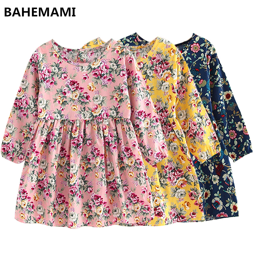 spring Baby Kids Dresses Children Girls Long Sleeve Floral Princess Dress Spring Dress Baby Girls Clothes dress for girl fashion 2016 new autumn girls dress cartoon kids dresses long sleeve princess girl clothes for 2 7y children party striped dress