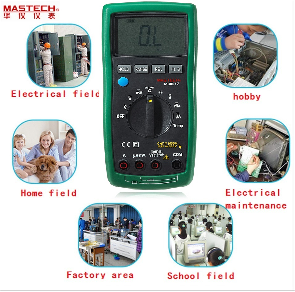 Portable Digital Multimeter Auto ranging AC/DC Voltage DMM REL Frequency & Temperature Tester With LCD Display MASTECH MS8217