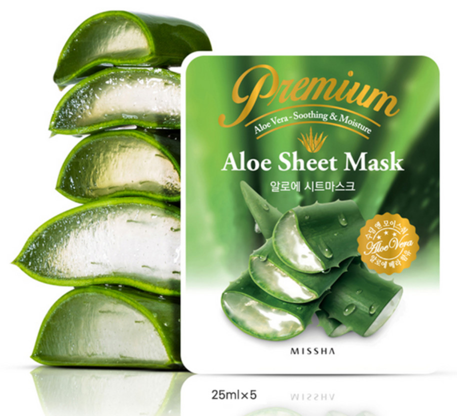 MISSHA Premium Aloe Sheet Mask 5pcslot Moisturizing Whitening Acne Treatment Face Care