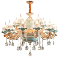 Luxury Modern Chandeliers Candelabra Stained Glass Lamp Shade Flower Chandelier French Crystal Chandelier Light Fixture Bed Room