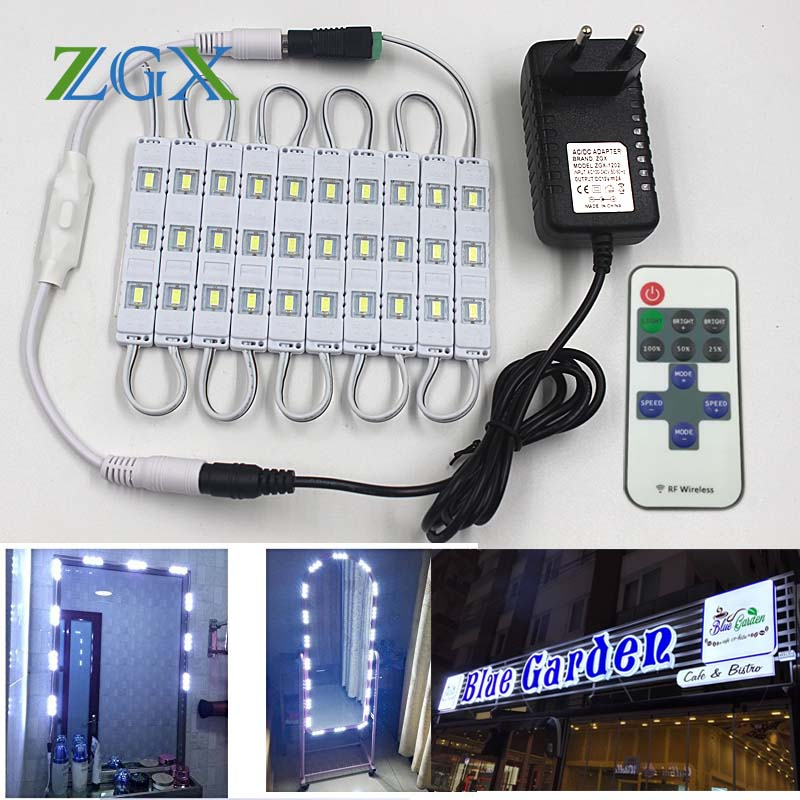 SMD 5630 LED Module Makeup Mirror 10PCS 20PCS Channel Letter Cosmetic Atmosphere Decor Light Lamp 11K Dimmer DC 12V Adapter Set