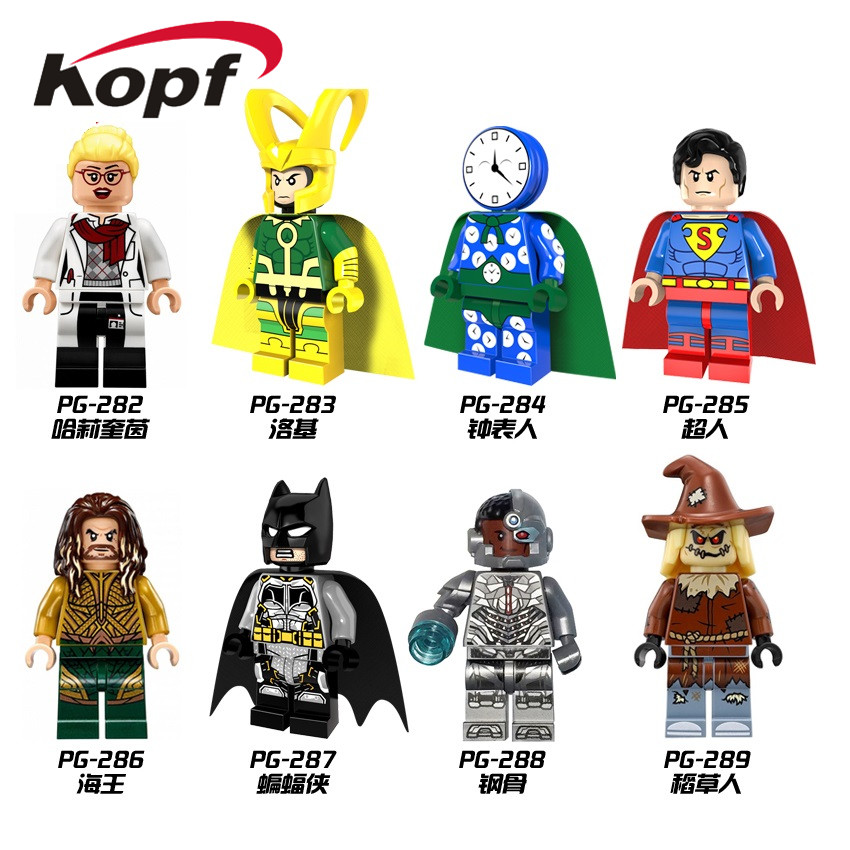 Single Sale Super Heroes Watchman Loki Superman Aquaman Batman Cyborg Scarecrow Building Blocks Bricks Children Gift Toys PG8068 4м светящийся витраж далекий космос