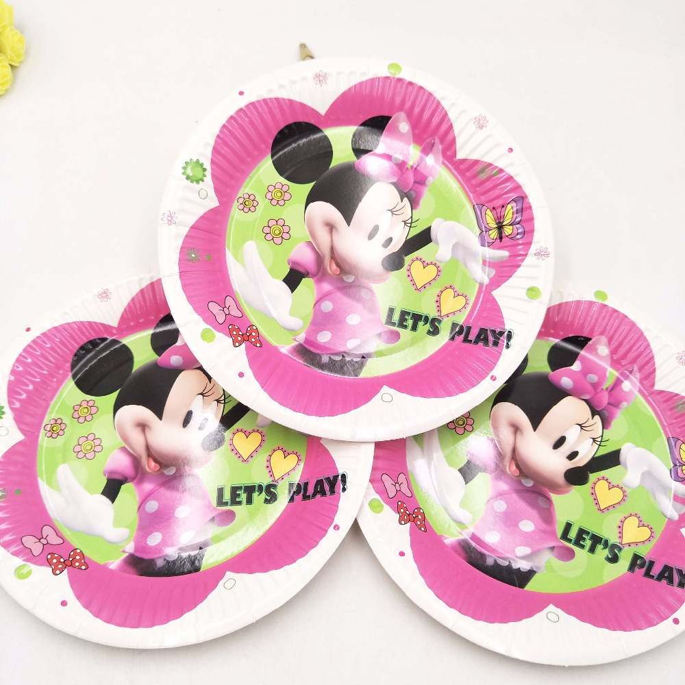 10pcs/bag Minnie Mouse Party Supplies Paper Plate Cake Dishes Kids Birthday Baby Shower Decoration Minnie Mouse Plates 7inches