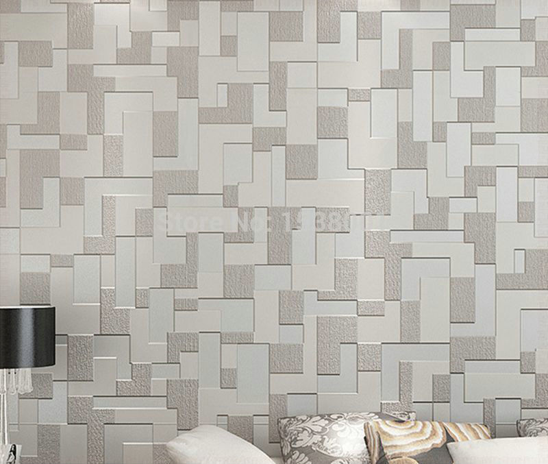 Buy Non Woven Embossed 3d Wallpaper Gray Simple Mosaic Design Bedroom  Living Room Wallpaper Wall Paper Part 16