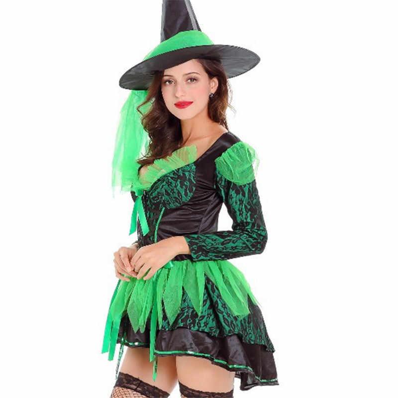 2018 новый роскошный зеленый и фиолетовый Эротический костюм ведьмы Хэллоуин для женщин клубвечерние высокое качество ведьмы косплэй нарядное платье