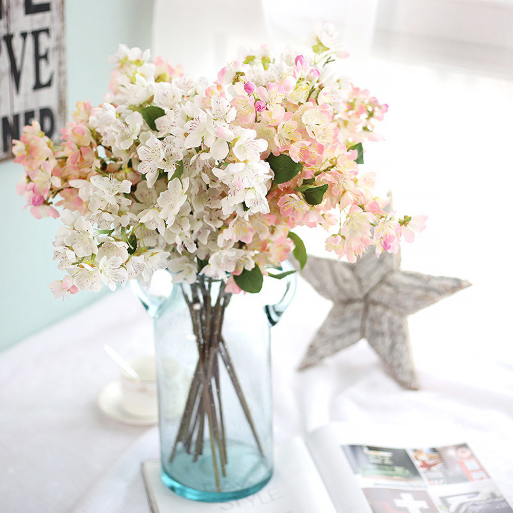 1 Branches Autumn Artificial Fake Cherry blossoms Flower Posy Home ...