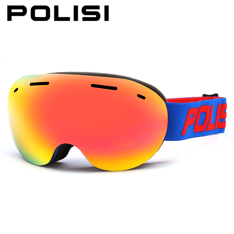 POLISI Men Women Snowboard Ski Glasses Big Spheral Double Layer Anti-Fog Lens Snow Skiing Eyewear UV400 Winter Skate Goggles polisi double layer lens ski snow glasses winter anti fog snowboard goggles uv400 protection skiing eyewear gafas de nieve