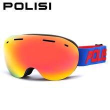 ПОЛИЗ мужчины женщины сноуборд лыжные очки большой Сферных двойной Анти-туман объектив катание на лыжах очки слой снега зимой солнечные очки uv400 очки скейт