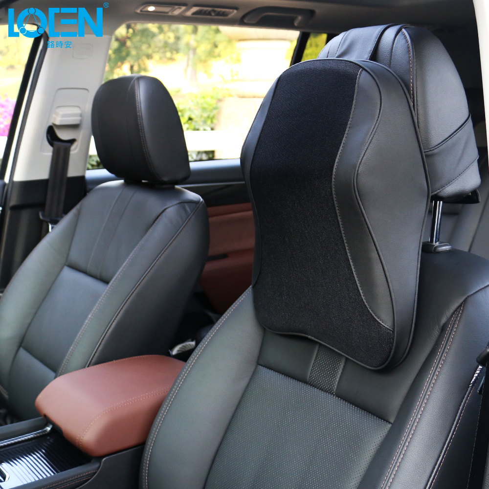Loen 1PCS Car Pillow Neck Support Headrest Memory Foam PU Leather Breathable Mesh Trip Rest Pillows For Universal Cars 3 Colors