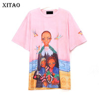 XITAO 2018 Europe New Spring Street Women Short Sleeve Cartoon Pattern Tees Female O Neck