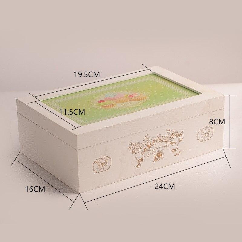 Vintage rétro organisateur conteneur boîtes de rangement en bois cosmétique boîte à bijoux décoratif solide affichage boîtes en bois pour les amis - 4