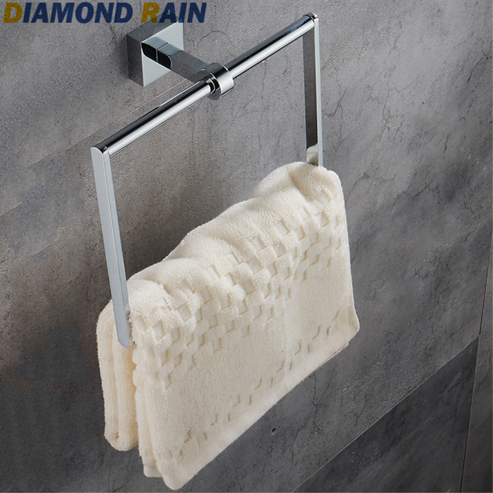 100% Quality Polished Chrome Towel Ring Square Solid Copper Wall Mounted Towel Holder Thick Silver Bathroom Dr102 Beautiful And Charming Home Improvement Bathroom Fixtures