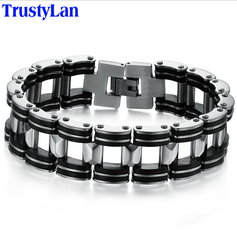 TrustyLan Fashion Stainless Steel & Black Silicone Bracelet For Men Male Jewelry Accessories Biker Bicycle Link Chain Bracelets
