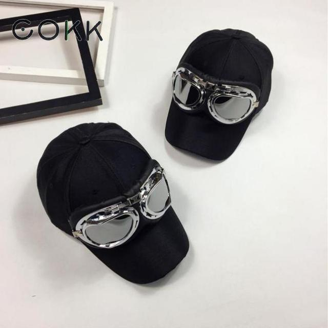 COKK Brand New Fashion Aviator Baseball Cap Solid Color Hip Hop Snapback Caps Pilot Hat With Sunglasse casquette Gorro Casquette