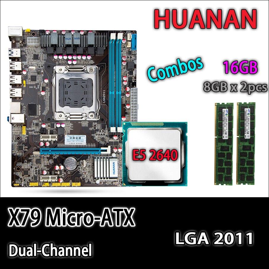 HUANAN ouro X79 motherboard micro-ATX X79 LGA 2011 mainboard combos E5 2640 C2 SR0KR 2x8 GB 16 GB 1333 Mhz DDR3 ECC REG RAM