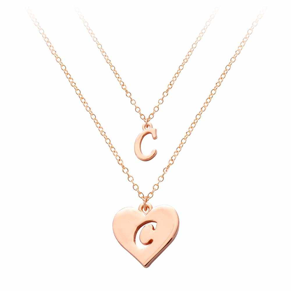 a1ad620a8 ... Rose Gold Two Layers Letter Necklace Pendant Heart Shape 26 Alphabet  English Letter Collares Three color ...