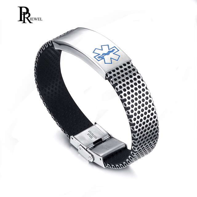 Men S Stainless Steel Silicone Blue Medical Alert Diabetic Engraved Cuff Bracelet Bangle