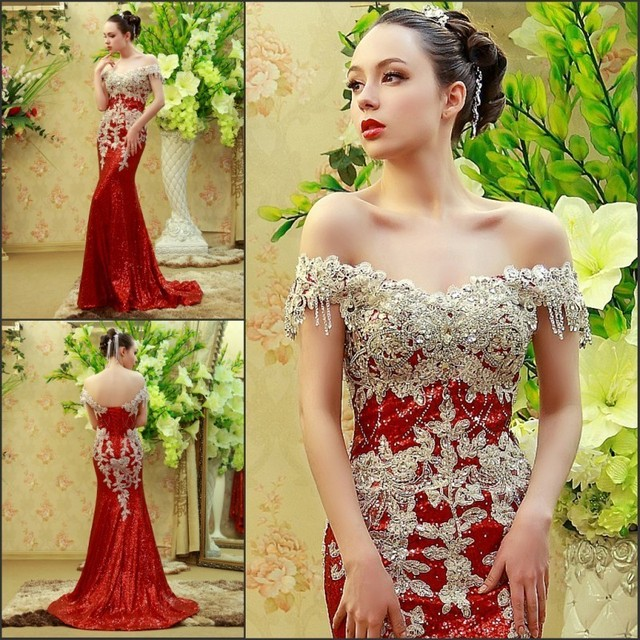 Custom Made Mermaid Sequins Tulle Lace Crystal Stones Diamond Luxury Sexy Evening Dress Party Gowns Dress Evening Gown SW14