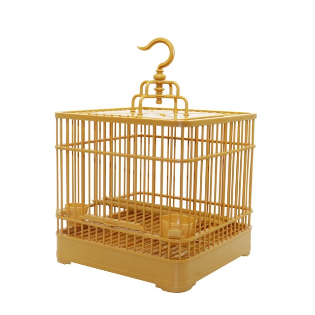 Assembly Bird Cage With Feeder And Waterer Small Pet Bird Full Set Of Plastic Bird House Thrush Parrot Cage 23x23x22cm