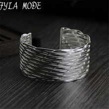 Fyla Mode Punk Style Cuff Bangles 999 Pure Thai Silver Wrap Weaving Silver Bracelet Clothes Jewelry Costume Jewellery 30mm 39.50