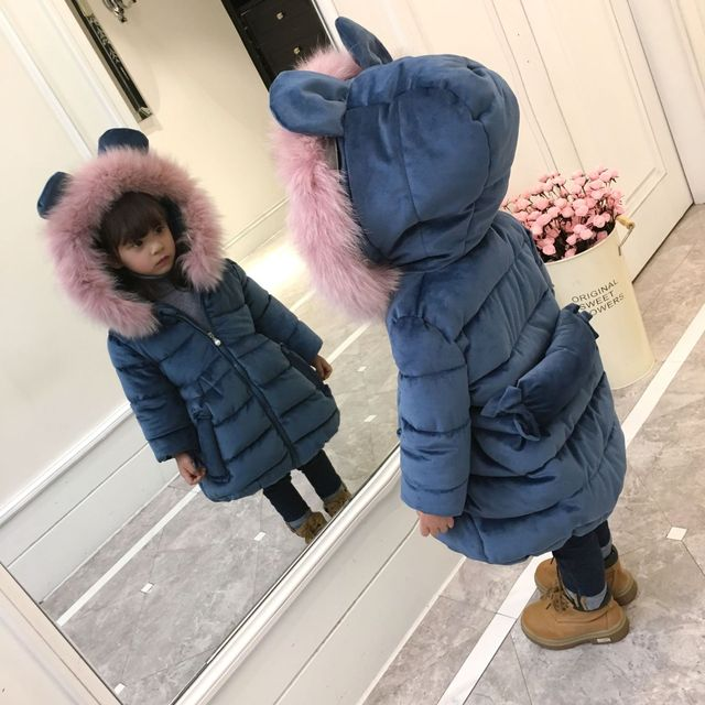 Baby Girls Winter Jackets Little Girls Warm Velvet Coats Hooded