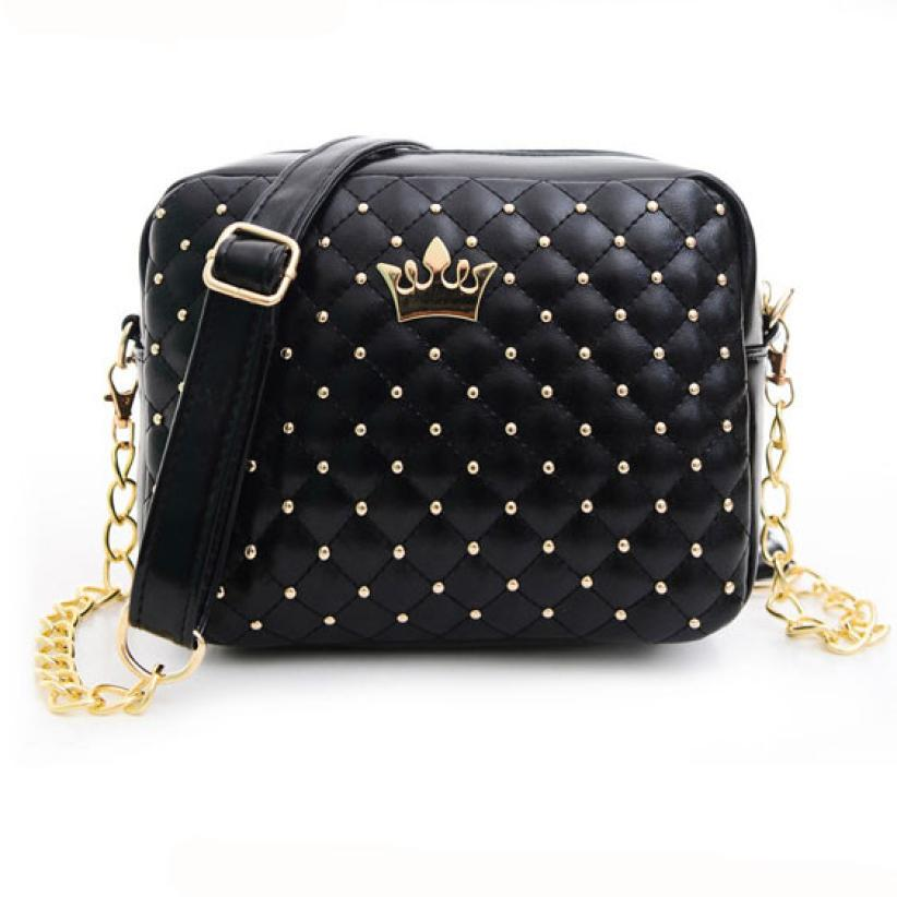 01628af5fb80 women messenger bags Vogue Crown Women Bag Rivet Chain Ladies Crossbody Bags  Women Handbags bolsa feminina