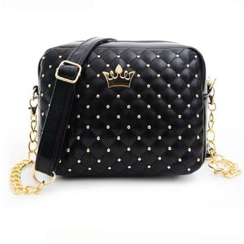 women messenger bags Vogue Crown 2017 Women Bag Rivet Chain Ladies Crossbody Bags Women Handbags bolsa feminina  @ Сумка
