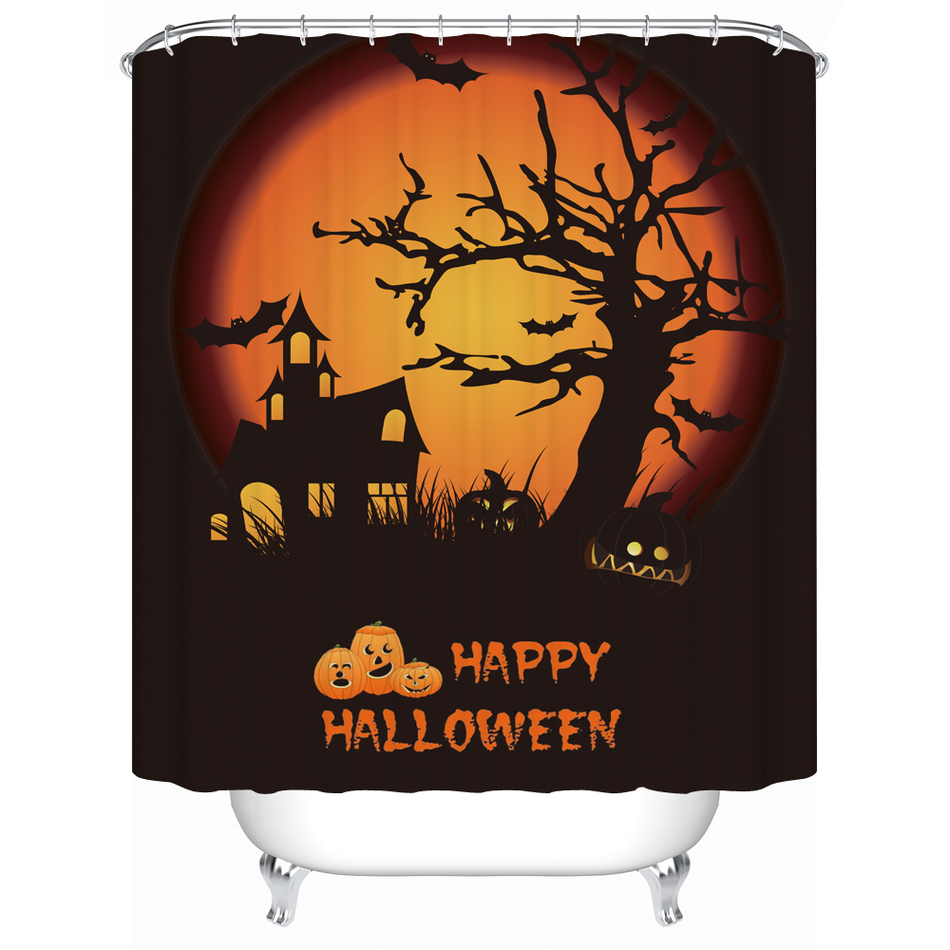 Halloween shower curtains target - Halloween Shower Curtain Warm Tour Horror Halloween Atmosphere Waterproof Shower Curtains High Quality Bathroom Products