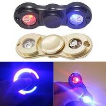 2017 Newest Brand 2 LED Light Fidget Hand Spinner Metal Finger Toy EDC Focus ADHD Gyro Gift For Kids Adult
