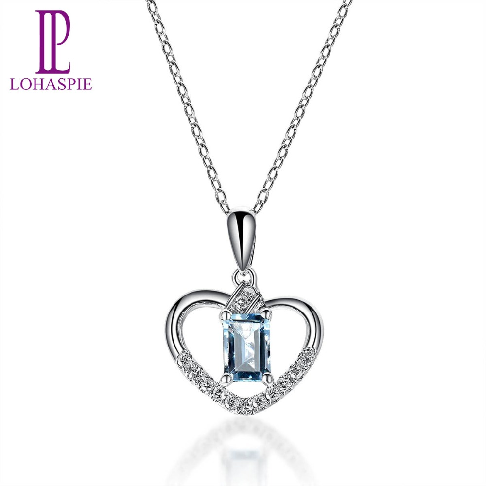 Lohaspie Diamond-Jewelry Solid 18K White Gold Natural Aquamarine Heart Clou Pendant Fine Stone Jewelry For March Birthday Gift