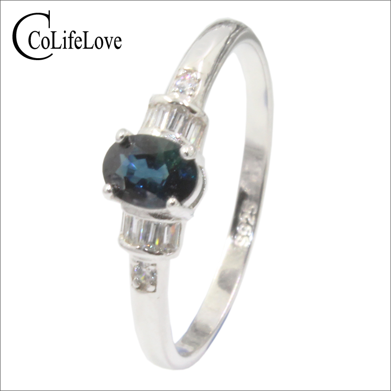 Real 925 sterling silver sapphire ring 4 mm * 6 mm natural midnight blue sapphire silver ring for engagement birthday gift цены онлайн