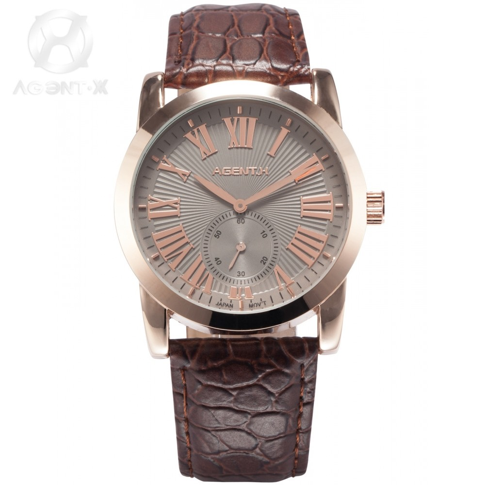 ФОТО Agent X Le Charme Fatal Rose Gold Stainless Steel Case Leather Brown Band Reloje Analog Band Men Quartz Bussiness Watch / AGX092