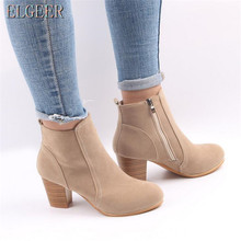ELGEER 2018 new womens shoes round head thick with side zipper ladies casual size 35--41
