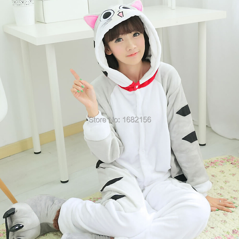 Kigurumi Flannel Chi's Sweet Home Pajamas Winter Hooded Conjoined Animal Cosplay Cheese Cat Pyjamas Halloween Costumes