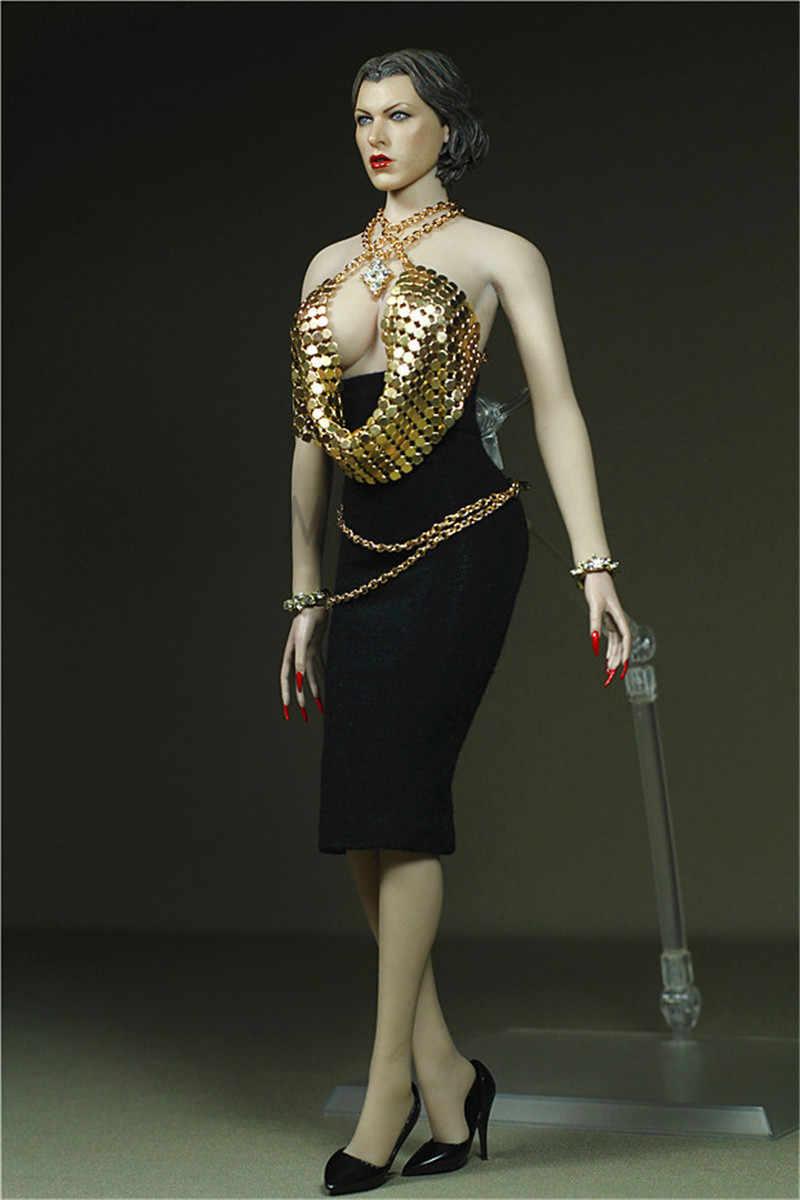 1/6 Escala Dourada Jaqueta com Preto Nádega Saia Vestido para 12 polegada Phicen Tbleague Action figure Coleção toy Coleção