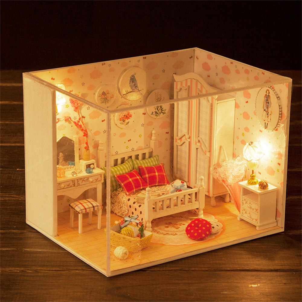 DIY Wooden Miniature Doll House Furniture LED Doll House Set Decorate Creative Gifts A1
