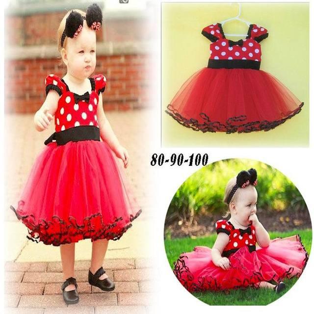 Vestido del Bebé Del Bowknot Rojo Polka Dot Gasa Vestido de Princesa Girl Dress TUTU 3-24 M 14171
